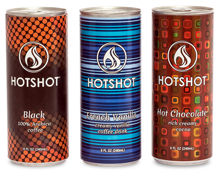 Hot canned coffe trio product shot.